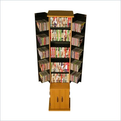 Venture Horizon Original CD DVD Media Tower in Cherry / Black Finish