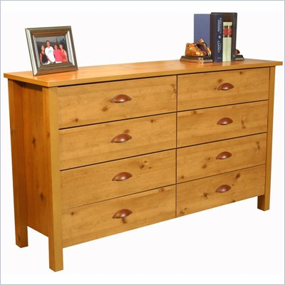 Venture Horizon Nouvelle 8 Drawer Lowboy Double Dresser in Pine Finish