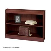 Safco WorkSpace 30H Two Shelf Square-Edge Bookcase in Manhogany