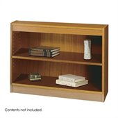 Safco WorkSpace 30H Two Shelf Square-Edge Bookcase in Medium Oak