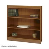 Safco WorkSpace 36H Three Shelf Square-Edge Bookcase in Medium Oak