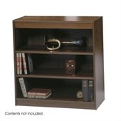 Safco WorkSpace 36H Three Shelf Square-Edge Bookcase in Walnut