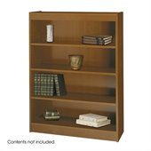 Safco WorkSpace 48H Four Shelf Square-Edge Bookcase in Medium Oak