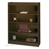 Safco WorkSpace 48H Four Shelf Square-Edge Bookcase in Walnut