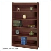 Safco WorkSpace Standard 60H 5 Shelf Square-Edge Wood Bookcase in Mahogany