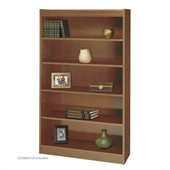 Safco WorkSpace 60H Five Shelf Square-Edge Bookcase in Medium Oak
