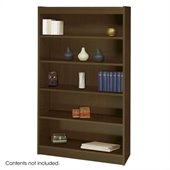 Safco WorkSpace 60H Five Shelf Square-Edge Bookcase in Walnut