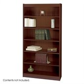 Safco WorkSpace Standard 72H 6 Shelf Square-Edge Wood Bookcase in Mahogany