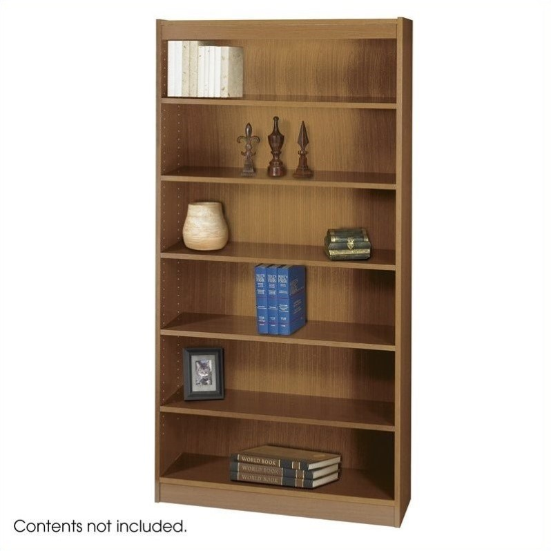 Safco WorkSpace 72H Six Shelf Square-Edge Bookcase in Medium Oak