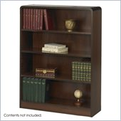 Safco 4 Shelf Radius-Edge Veneer Bookcase in Walnut