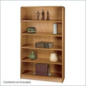 Safco WorkSpace Five Shelf Radius Edge Bookcase in Medium Oak