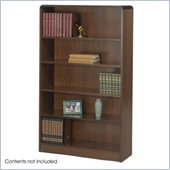 Safco WorkSpace Five Shelf Radius Edge Bookcase in Walnut