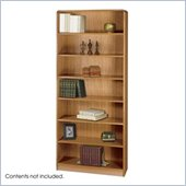 Safco WorkSpace Seven Shelf Radius Edge Bookcase in Medium Oak