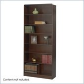 Safco WorkSpace Seven Shelf Radius Edge Bookcase in Walnut