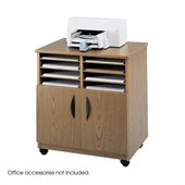 Safco Mobile Stand with Sorter in Medium Oak