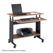 Safco MV 35 Height Adjustable Wood Workstation in Medium Oak