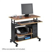 Safco MÜV Mini Tower Height Adjustable Wood Workstation in Cherry