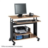 Safco MV Mini Tower Height Adjustable Wood Workstation in Medium Oak