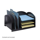 Safco Black Combination Steel Desk Rack with 3 Vertical and 3 Horizontal Sections