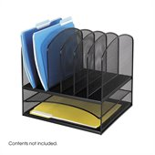 Safco Onyx Black Mesh Desk Organizer with 2 Horizontal and 6 Upright Sections