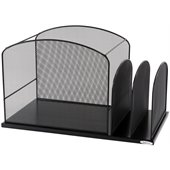 Safco Onyx Black Mesh Desk Organizer with 2 Upright Sections