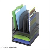 Safco Onyx Black Mesh Desk Organizer with 3 Horizontal and 5 Upright Sections