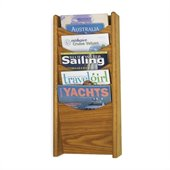 Safco 5-Pocket Wood Magazine Rack in Medium Oak