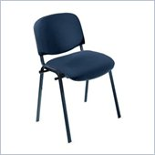 Safco Workspace Visit Black Frame Upholstered Navy Stacking Chair (Set of 2)