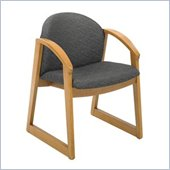Safco Workspace Urbane Oak and Black Guest Arm Chair with Sled Base