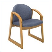 Safco Workspace Urbane Oak and Blue Guest Arm Chair with Sled Base