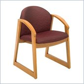 Safco Workspace Urbane Oak and Burgundy Guest Arm Chair with Sled Base
