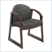 Safco Workspace Urbane Mahogany and Black Guest Arm Chair with Sled Base