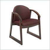 Safco Workspace Urbane Mahogany and Burgundy Guest Arm Chair with Sled Base