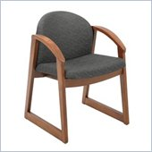 Safco Workspace Urbane Cherry and Black Guest Arm Chair with Sled Base