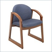 Safco Workspace Urbane Cherry and Blue Guest Arm Chair with Sled Base