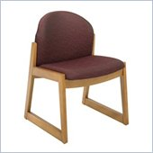 Safco Workspace Urbane Oak and Burgundy Guest Chair with Sled Base