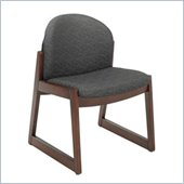 Safco Workspace Urbane Mahogany and Black Guest Chair with Sled Base