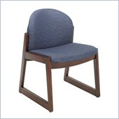 Safco Workspace Urbane Mahogany and Blue Guest Chair with Sled Base