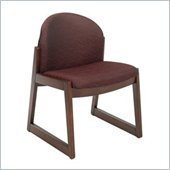 Safco Workspace Urbane Mahogany and Burgundy Guest Chair with Sled Base