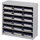 Safco E-Z Stor Grey Steel Mail Organizer, 18 Compartments