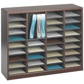 Safco E-Z Stor Mahogany Wood Mail Organizer, 36 Compartments