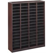 Safco E-Z Stor Mahogany Wood Mail Organizer, 60 Compartments