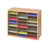 Safco Medium Oak Wood/Corrugated 24 Compartment Literature Organizer
