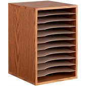Safco Medium Oak 11 Compartment Vertical Desk Top Sorter