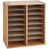 Safco Medium Oak 16 Compartment Wood Adjustable File Organizer