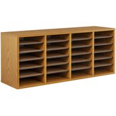 Safco Medium Oak 24 Compartment Wood Adjustable File Organizer