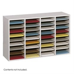 Safco Grey 36 Compartment Wood Adjustable File Organizer