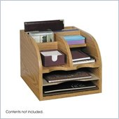 Safco Medium Oak 3-Way Corner Radius Organizer