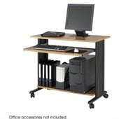 Safco MV 35 Fixed Height Medium Oak Wood Workstation with Black Metro Extended Height Office Chair