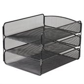 Safco Onyx Triple Tray Organizer in Black